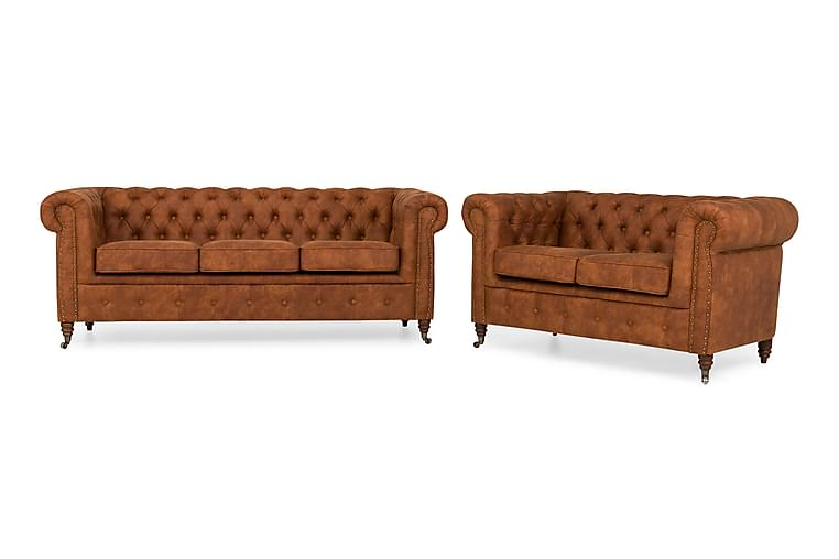 Chesterfield My Deluxe Soffgrupp 3-sits+2-sits - Cognac - Alla Möbler - Soffor - Chesterfieldsoffor